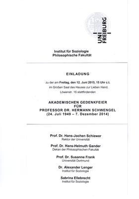 Akademische Gedenkfeier für Professor Dr. Herman Schwengel